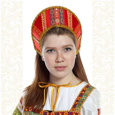 Кокошник Ася, красный в золоте- фото 1