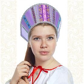 Кокошник Ася, сиреневый (светло-фиолетовый) в серебре