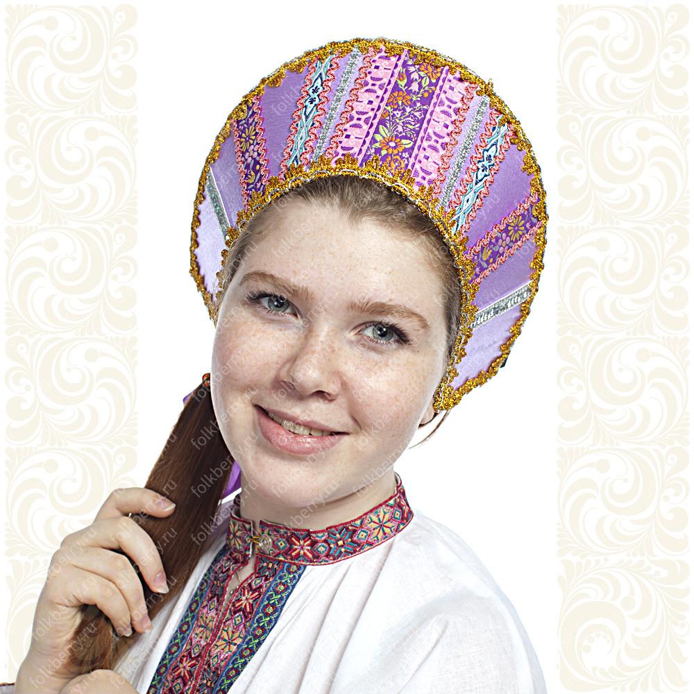 Кокошник Ася, сиреневый (светло-фиолетовый) в золоте- фото 1