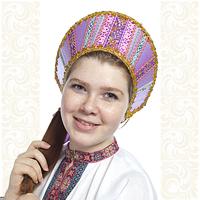 Кокошник Ася, сиреневый (светло-фиолетовый) в золоте