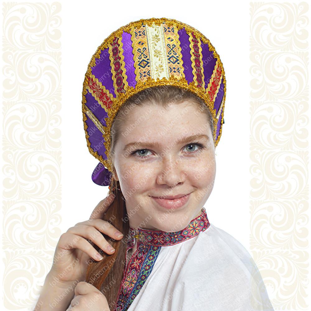 Кокошник Ася, фиолетовый в золоте- фото 1