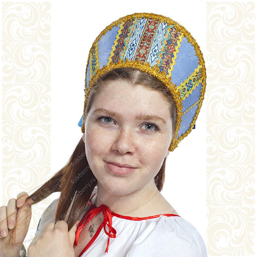 Кокошник Ася, светло-голубой в золоте- фото 1