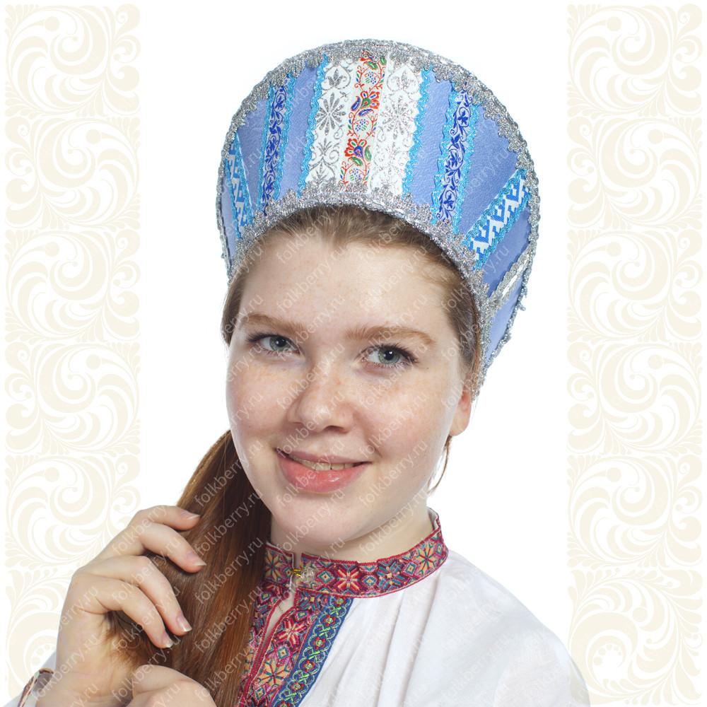 Кокошник Ася, светло-голубой в серебре- фото 1