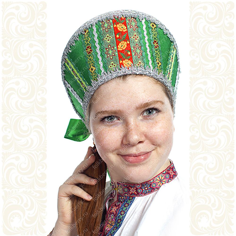 Кокошник Ася, зеленый в серебре- фото 1