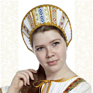 Кокошник Ася, белый в золоте- фото 1