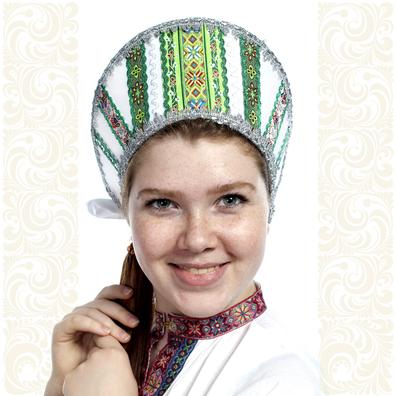 Кокошник Ася, белый в серебре- фото 1