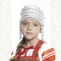 Девичья повязка Ладушка (очелье), белый в серебре