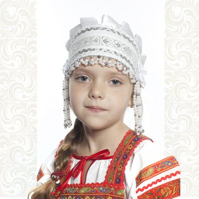 Девичья повязка Ладушка (очелье), белый в серебре- фото 1