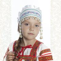 Девичья повязка Ладушка (очелье), белый в золоте