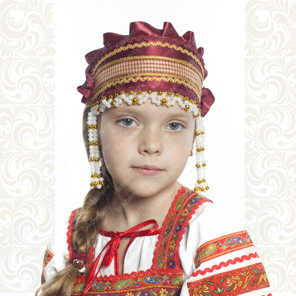Девичья повязка Ладушка (очелье), бордовый в золоте- фото 1