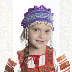 Девичья повязка Ладушка (очелье), фиолетовый в серебре- фото 1