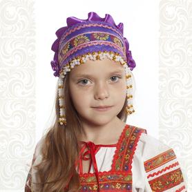 Девичья повязка Ладушка (очелье), фиолетовый в золоте