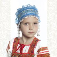Девичья повязка Ладушка (очелье), голубой в серебре