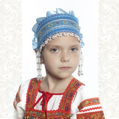 Девичья повязка Ладушка (очелье), голубой в серебре- фото 1