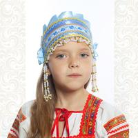 Девичья повязка Ладушка (очелье), голубой в золоте