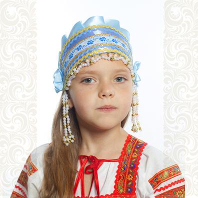 Девичья повязка Ладушка (очелье), голубой в золоте- фото 1