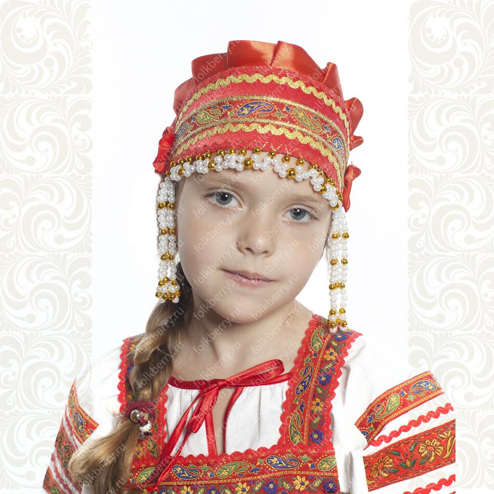 Девичья повязка Ладушка (очелье), красный в золоте- фото 1