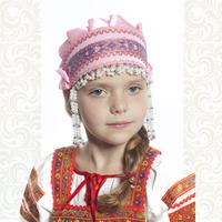 Девичья повязка Ладушка (очелье), розовый в серебре