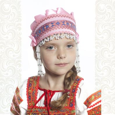 Девичья повязка Ладушка (очелье), розовый в серебре- фото 1