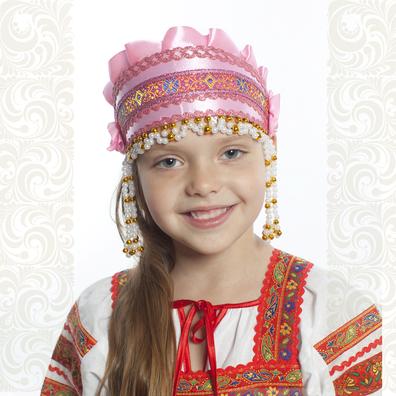 Девичья повязка Ладушка (очелье), розовый в золоте- фото 1