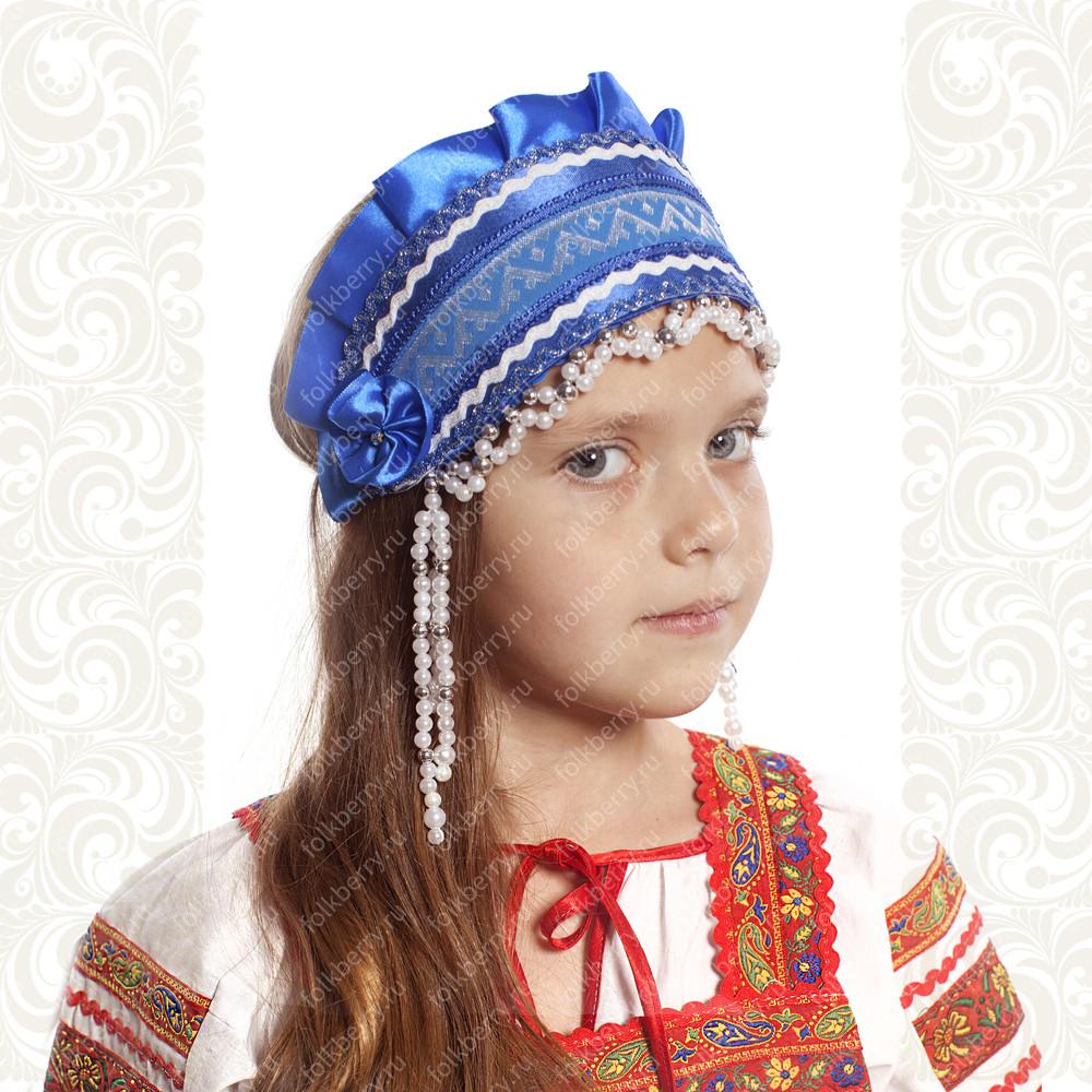 Девичья повязка Ладушка (очелье), синий в серебре- фото 1