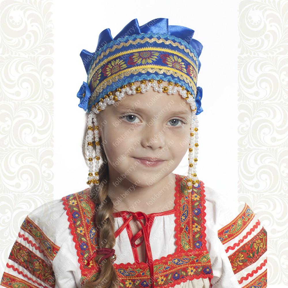 Девичья повязка Ладушка (очелье), синий в золоте- фото 1