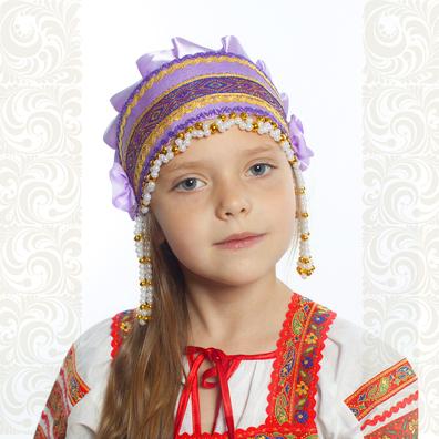 Девичья повязка Ладушка (очелье), сиреневый в золоте- фото 1