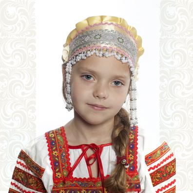 Девичья повязка Ладушка (очелье), желтый в серебре- фото 1