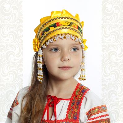 Девичья повязка Ладушка (очелье), желтый в золоте- фото 1