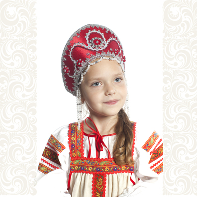 Кокошник Котена, бордовый с серебром- фото 1