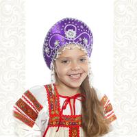 Кокошник Котена, фиолетовый с серебром