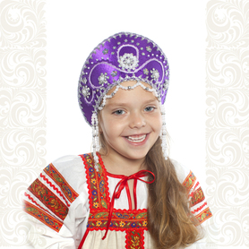 Кокошник Котена, фиолетовый с серебром- фото 1