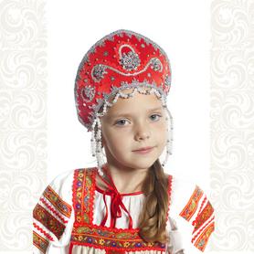 Кокошник Котена, красный с серебром