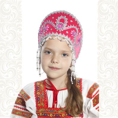 Кокошник Котена, ярко-розовый с серебром- фото 1