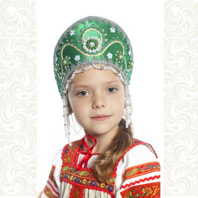 Кокошник Котена, зеленый с серебром- фото 1