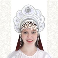 Кокошник Москвичка, белый с серебром