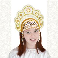 Кокошник Москвичка, белый с золотом