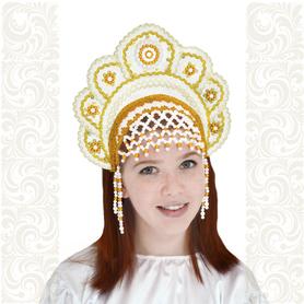 Кокошник Москвичка, белый с золотом- фото 1