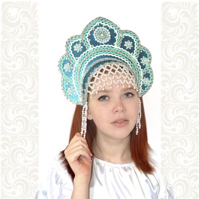Кокошник Москвичка, бирюзовый с серебром- фото 1