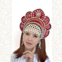 Кокошник Москвичка, бордовый с серебром