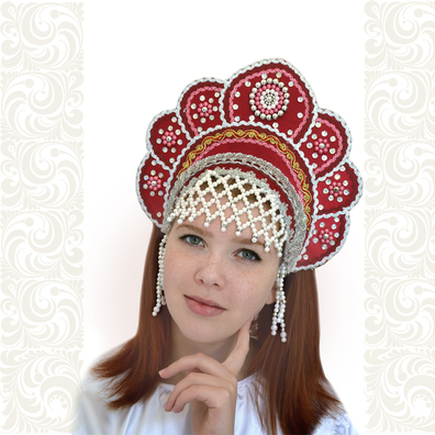 Кокошник Москвичка, бордовый с серебром- фото 1