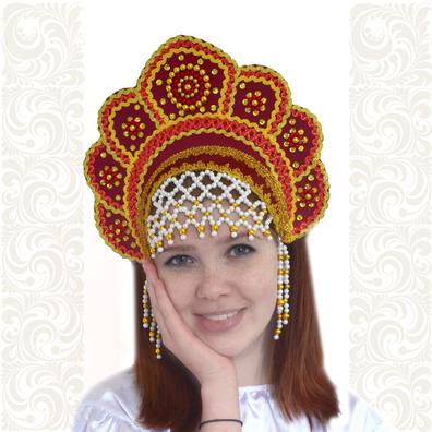 Кокошник Москвичка, бордовый с золотом- фото 1
