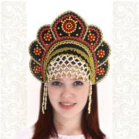 Кокошник Москвичка, черный с золотом