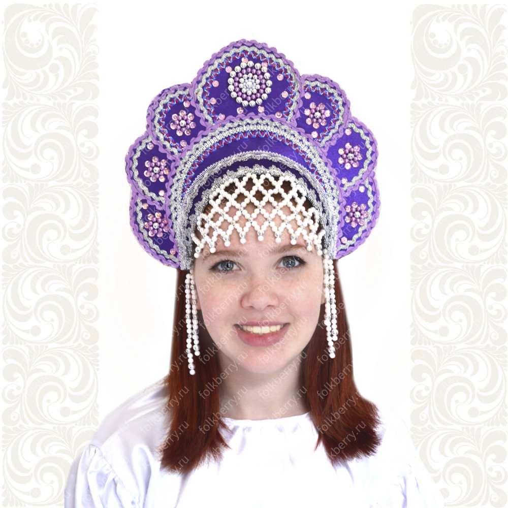 Кокошник Москвичка, фиолетовый с серебром- фото 1