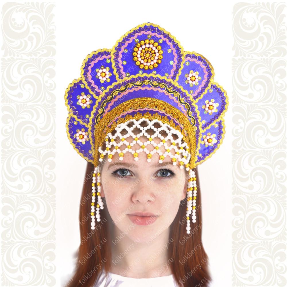 Кокошник Москвичка, фиолетовый с золотом- фото 1