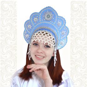 Кокошник Москвичка, голубой с серебром