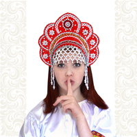 Кокошник Москвичка, красный с серебром