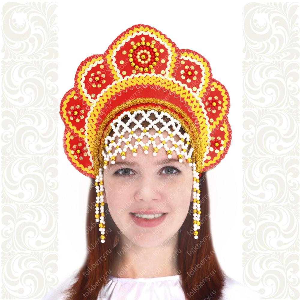 Кокошник Москвичка, красный с золотом- фото 1
