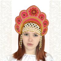 Кокошник Москвичка, малиновый с золотом