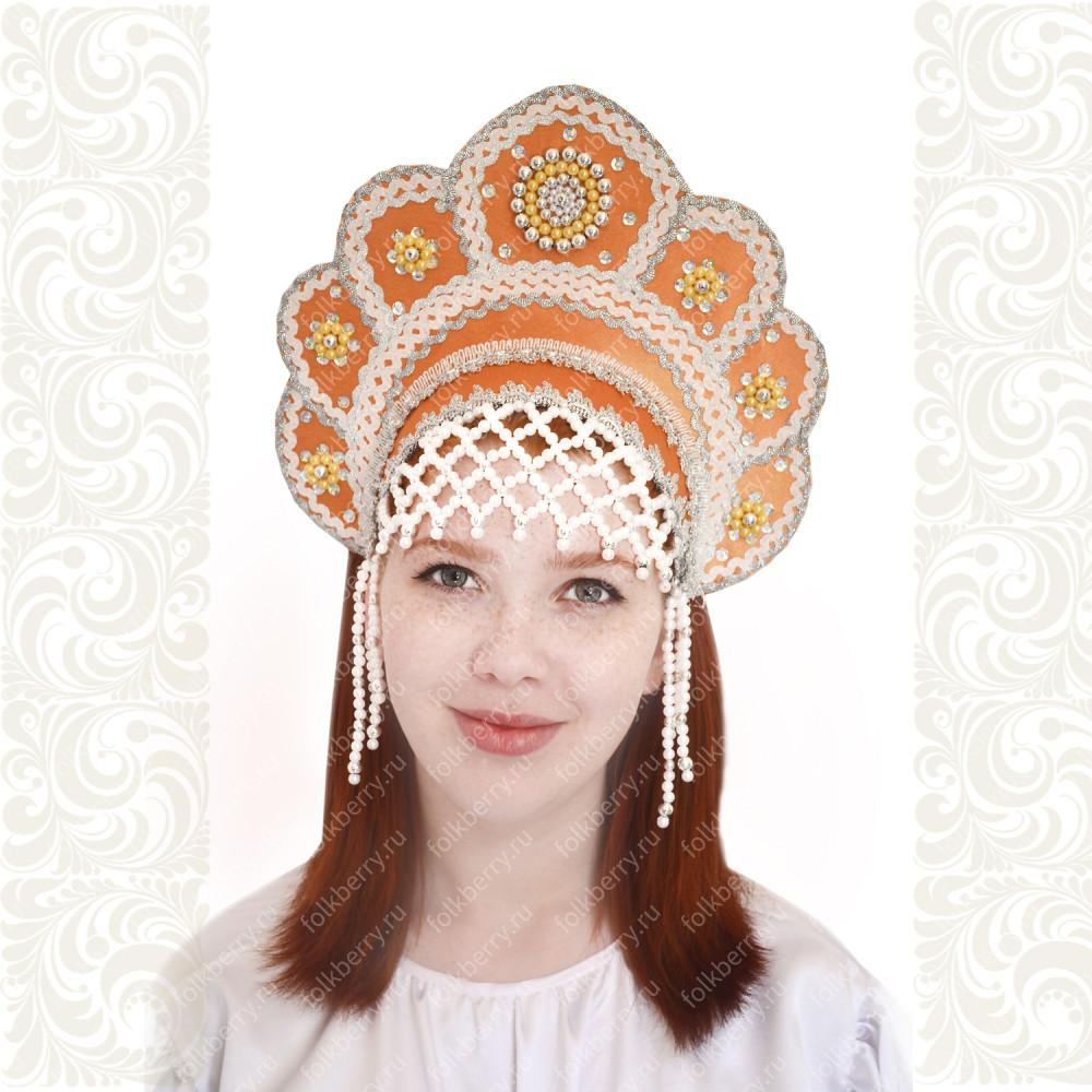 Кокошник Москвичка, оранжевый с серебром- фото 1